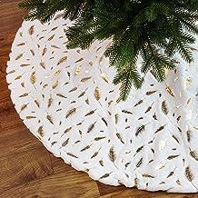 Witte kerstboomrok, 48 inch kerstboom rok met gouden veer, imitatiebont kerstboom rok mat voor vrolijke kerstfeest feestde...