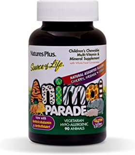 NaturesPlus Animal Parade Source of Life Children's Chewable Multivitamin (2 Pack) - 90 Animal Shaped Tablets - Natural As...