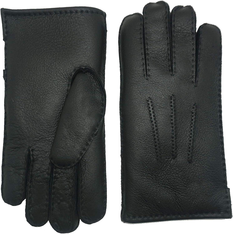 YISEVEN Men's Merino Genuine Free Shipping Popular standard Rugged Lambskin Leather Shearling Gloves Bu