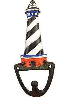 Lighthouse Hook Black & White Decorative Nautical Wall Hanging 6.375
