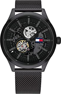 Tommy Hilfiger Men'S Black & Grey Dial Ionic Plated Black Steel Watch - 1791644
