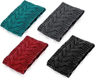 Huachi Winter Headbands Women Ear Warmers Cable Knit Headwraps Braided Head Scarf Teen Girls Chunky Fashion Hair Accessories, 4 Pack