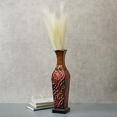 Elements Harlequin Embossed Metal Vase-Table Centerpiece Home Décor for Dried Flower and Artificial Floral Arrangements, Livi