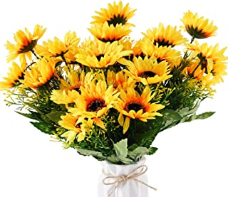 BEFINR Artificial Sunflower Forever Flowers Bunch Yellow Helianthus Green Leaves for Art Home Decoration Office Party Wedding 4 Pcs