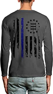 Oversized Blue Line Three Percenter Flag Back Print Men's Long Sleeve Shirt