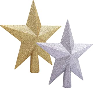 Elcoho 2 Pack Glittered Star Christmas Tree Topper Shatter-Proof Sparkling Christmas Tree Treetop for Christmas Tree Decoration, 2 Colors
