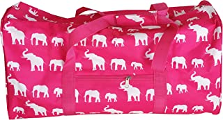 NDN22-17-Grey-P Grey White pink trim Heart pattern Gym Dance Cheer Duffel Bag