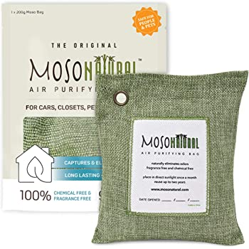 Moso Natural GTC1011-NEW Odor Eliminator Air Purifying Bag for Home/Car 200g, Green