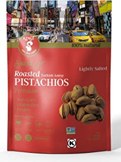 AZNUT Turkish Antep Roasted Salted Pistachios, 100 % Natural Premium Quality Class A, Non Gmo Project Certified, Kosher Certified, Great Snacks, Resealable Bag 1 LB