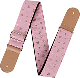 """Pink Guitar Strap for kids & Girls, 2"""" Wide Extra Long Adjustable Non-Slip Guitar Straps for Acoustic/Electric Guitar & Ba..."""