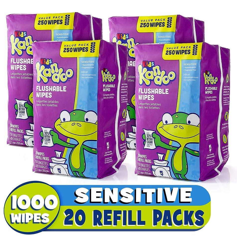 kandoo 可冲水 biodegradable 培训和儿童清洁湿纸巾带保湿润肤乳 refills ,敏感,250支, Pam-5704, 4, 4