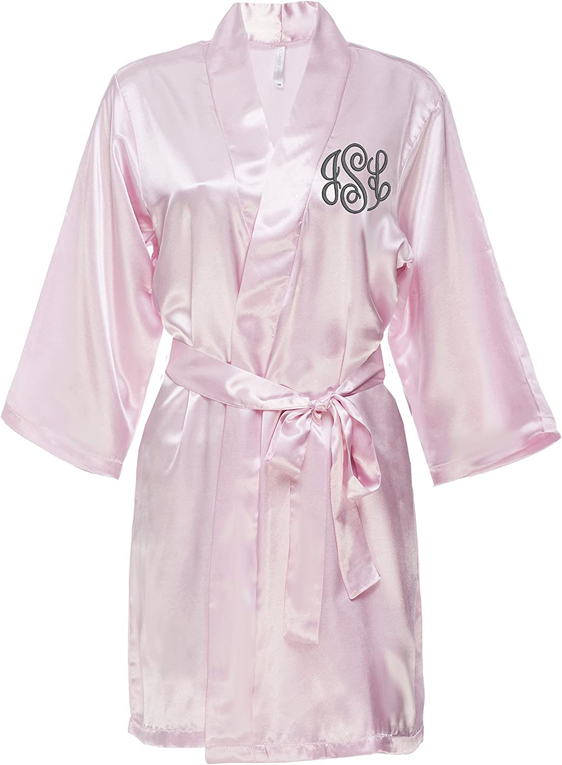 Classy Be super welcome Bride Monogrammed Satin Robe Max 85% OFF Blush Pink -