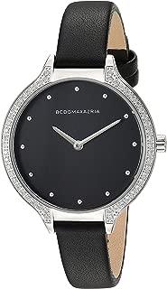 BCBGMAXAZRIA Women's Japanese-Quartz Stainless Steel Case Geniune Leather/Stainless Steel Strap Casual Watch (Model: BG5067800
