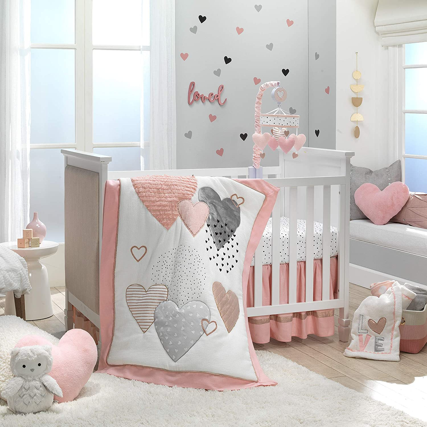 Lambs Ivy Signature Heart Super sale to Set Crib Free shipping anywhere in the nation 4-Piece Bedding -