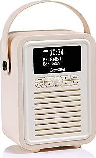 VQ Retro Mini DAB+ Digital Radio with AM/FM, Bluetooth & Alarm Clock – Cream