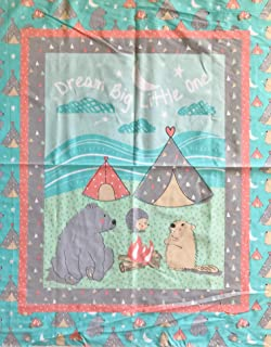 """Baby Animals""""Dream Big Little One"""" Camp Wee One Cotton Fabric Panel (Great for Quilting, Sewing, Craft Projects, Wall Hangings, and More) 35"""" X 44"""""""