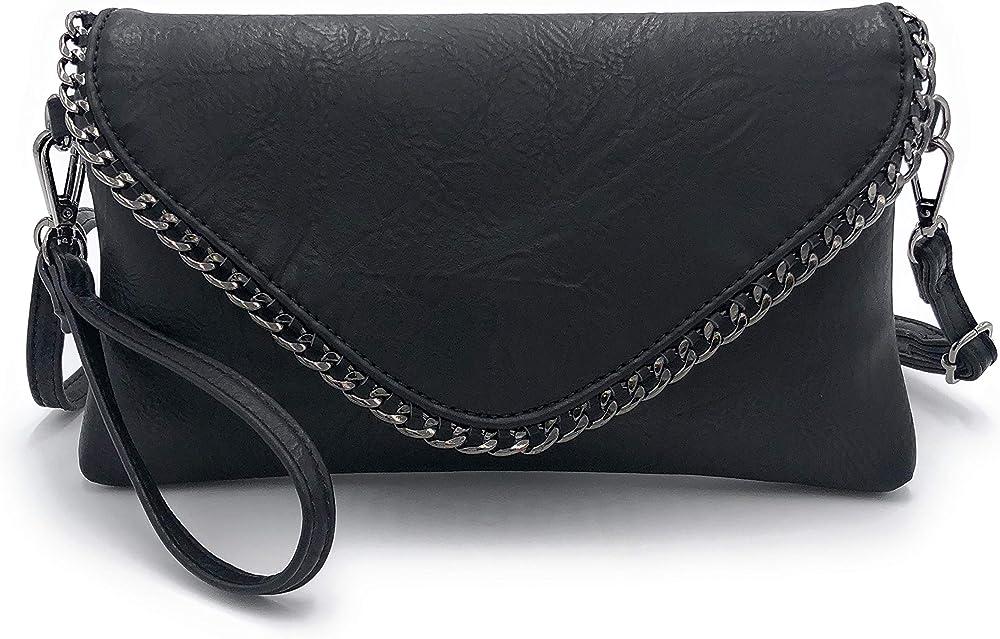 Eliox, pochette per donna, elegante,  con catena e tracolla, in morbida pelle sintetica , nera sreocia