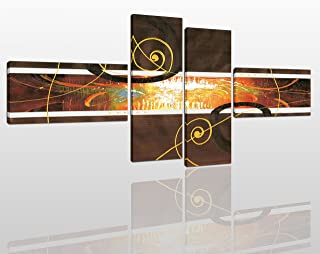 Abstract Canvas Wall Art Painting Modern Design Picture for Home Office Decor - 4 Pieces Golden Brown Framed On Wooden Frame Image Pictures Photo Artwork Decoration Ready to Hang