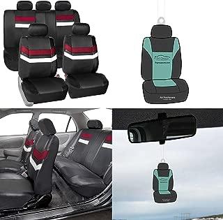 FH Group PU006115 Varsity Spirit PU Leather Seat Covers, Airbag & Split Ready, Universal Burgundy/Black Color