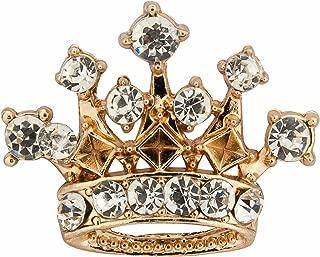 Knighthood Men's Golden Crown with Swarovski Detailing Lapel Pin/Brooch Golden
