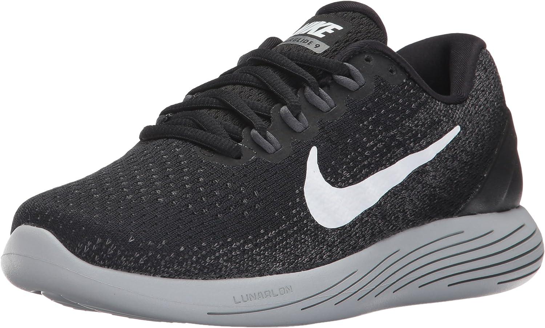 Nike Women's WMNS Lunarglide 9, Black White-Dark Grey