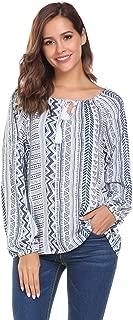 Zeagoo Women's Long Sleeve Bohemian Neck Tie Vintage Printed Boho Ethnic Style Loose Blouse
