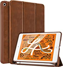 MoKo Case Fit New iPad Mini 5 2019 (5th Generation 7.9 inch) with Apple Pencil Holder - Slim Lightweight Smart Shell Stand Cover Case with Auto Wake/Sleep for iPad Mini 2019 - Brown