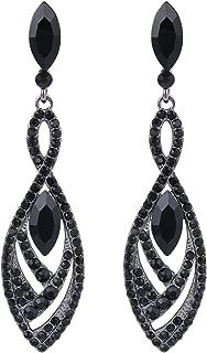 Women's Crystal Gorgeous Twisted Dual Chandelier Teardrop Fashion Pierced Dangle Earrings