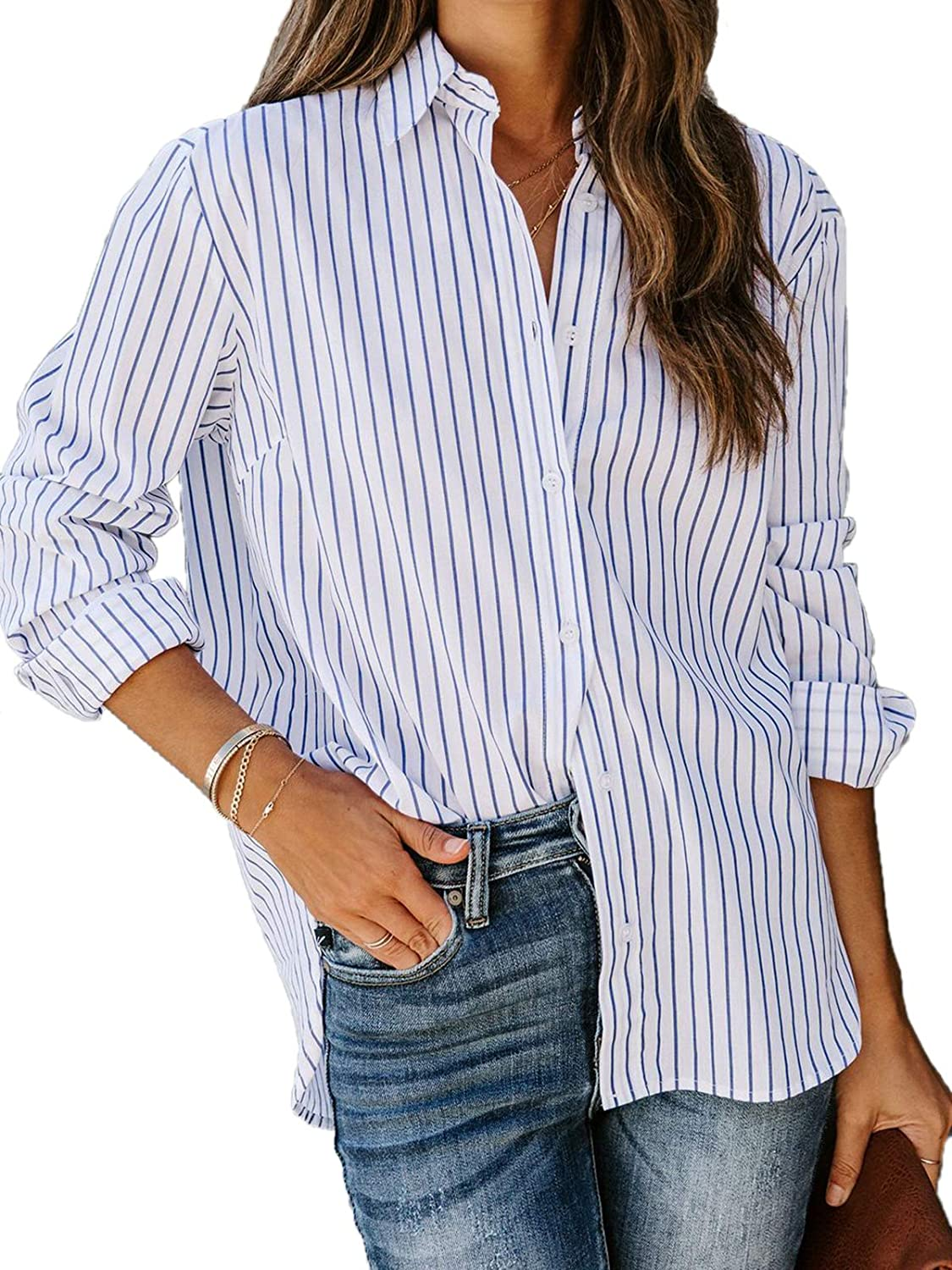 Bellastory Women's Plaid Button Down Shirts Long Sleeve Blouses Flannel Oversized Tunic Tops with Pockets