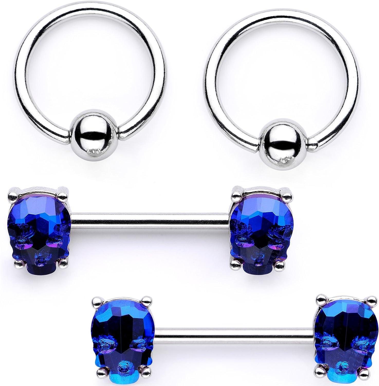 Body Candy Nipplerings Piercing Women 14G Stainless Steel 4Pc BCR Skull Nipple Ring Set