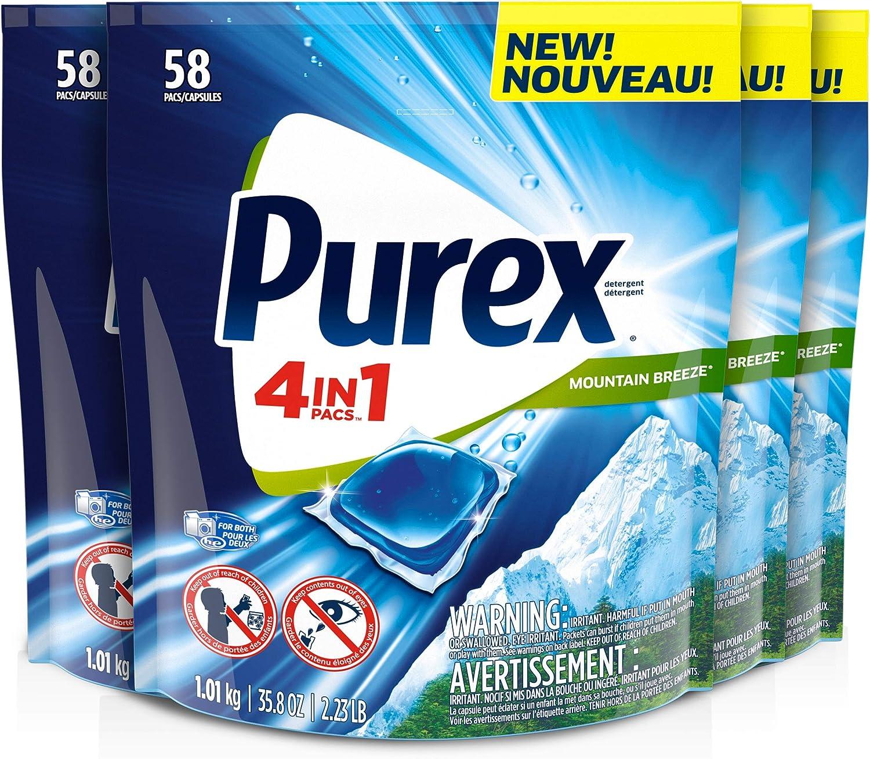 Purex 4-in-1 Laundry Super sale period limited Detergent Pacs Mountain Breeze P famous 58Count
