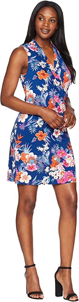Mira Dora Floral Sleeveless Wrap Short Dress
