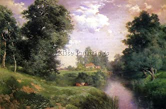 MORAN THOMAS A LONG ISLAND RIVER ARTIST PAINTING OIL CANVAS REPRO WALL ART DECO 28x40inch MUSEUM QUALITY