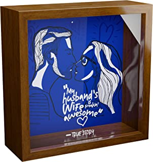 Husband Gifts | A 6x6x2' Themed Shadow Box for Couples | Romantic & Funny Husband Gift | Hubby Anniversary & Birthday Novelty Present | Wooden Keepsake Picture Frame Decor | Unique Love Shadow Box