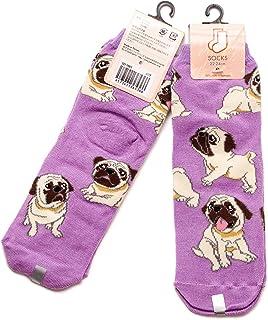 2足セット パグ レディース ソックス Pug Socks ペットとアニマルソックス Pet & Animal Socks SD-2001 ペットラバーズ パープル
