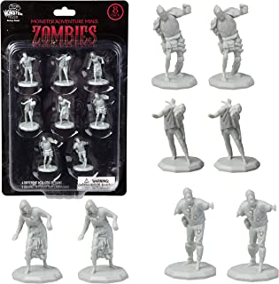 """Monster Protectors DND Miniatures- Zombies Mini Figures- 1"""" Hex-Sized for D&D Dungeons and Dragons, Pathfinder, and All RPG Tabletop Games (8pk)"""