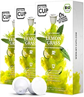 My Tea Cup - TEEKAPSELN LEMON GRASS 3 x 10 KAPSELN I BIO-Zitronengras-Tee Kräutertee I 30 Kapseln für Nespresso³-Kapselmaschinen I 100% industriell kompostierbare & nachhaltige Teekapseln – 0% Alu