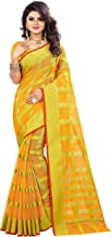 The Fashion Outlets Women's Cotton Silk Manipuri Saree with Blouse (Yellow and Gold)