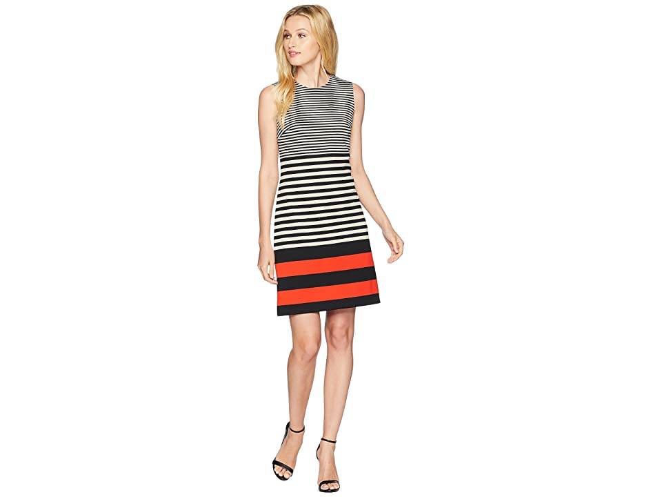 Calvin Klein Stripe Ponte Dress (Black/Latte) Women