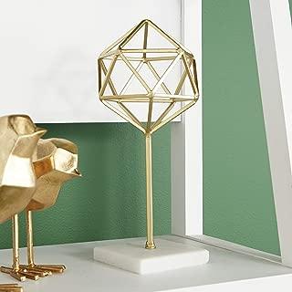 "CosmoLiving by Cosmopolitan 65565 Metallic Gold Metal Modern Geometric Orb Sculpture on Marble Base | 5"" x 11"""