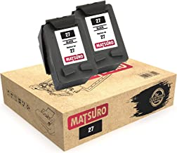 Matsuro Original   Compatible Remanufactured Cartuchos de Tinta Reemplazo para HP 27 (2 Negro)