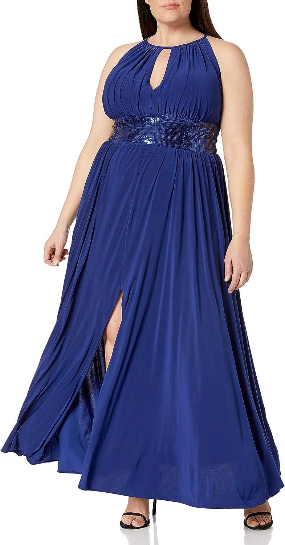 R&M Richards Women's Halter Neck Beaded Waist Formal Dress