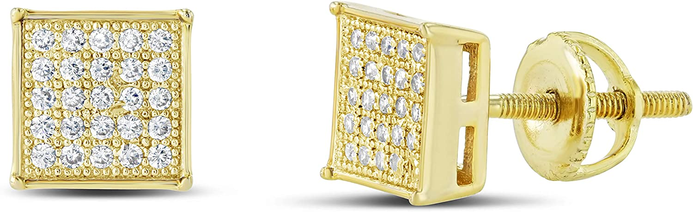Men Women Iced Out 18k Gold Finish Lab Diamond CZ Screwback Stud Earings 7MM