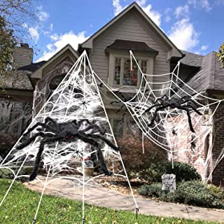 Halloween Decorations, 2Pcs 50'' Giant Spider + 200'' Triangular Spider Web and 100'' Round Spider Web, with Hook, Stretch...