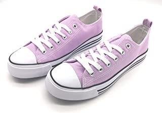 Women's Sneakers Casual Canvas Shoes, Low Top Lace up Cap Toe Flats (Order One Size Up) Purple Size: 10
