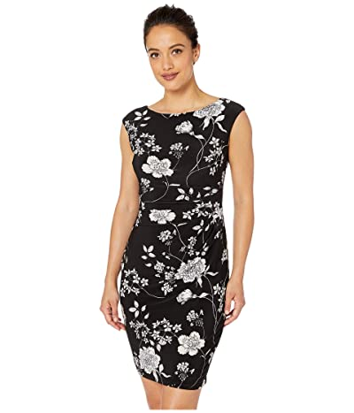 LAUREN Ralph Lauren Petite B809 Havasu Floral Matte Jersey Novellina Cap Sleeve Day Dress (Black/Lavender/Multi) Women