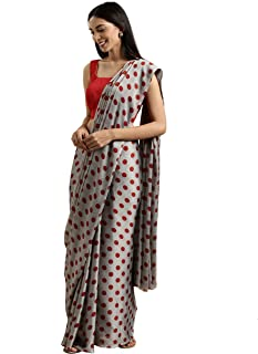 Womanista Crepe with Blouse Piece Saree (TKIM804_Grey & Red_Free Size)