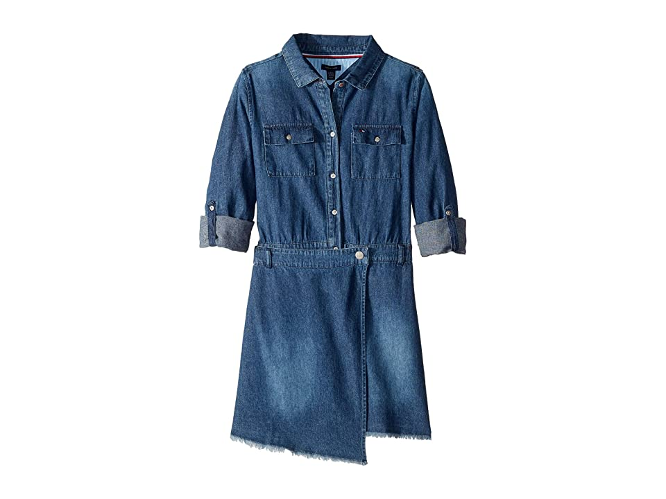 Tommy Hilfiger Kids Denim Wrap Dress (Big Kids) (Broadway Wash) Girl