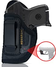IWB Gun Holster by Houston - ECO Leather Concealed Carry Soft Material | Suede Interior | Fits: Any Small .380 with Laser, Keltec, Diamond Back, Small 25 & 22 Cal