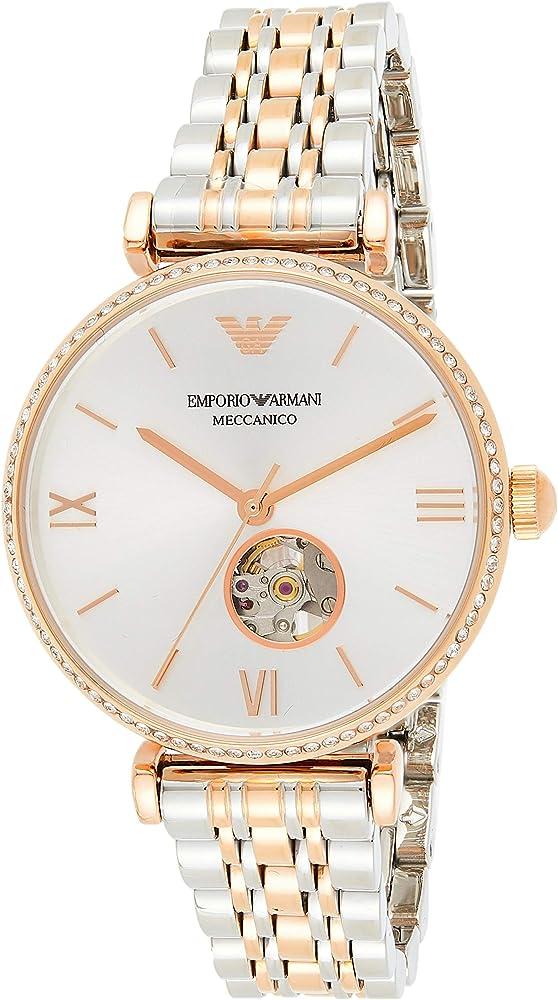 Emporio armani, orologio automatico da donna,  in acciaio inossidabile di colore argento e oro rosa AR60019
